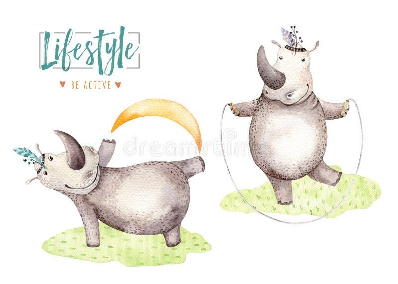 Animais tirados mão do hipopótamo da aquarela Ilustrações do hipopótamo da prática da ioga do berçário de Boho, árvore da selva,  ilustração stock