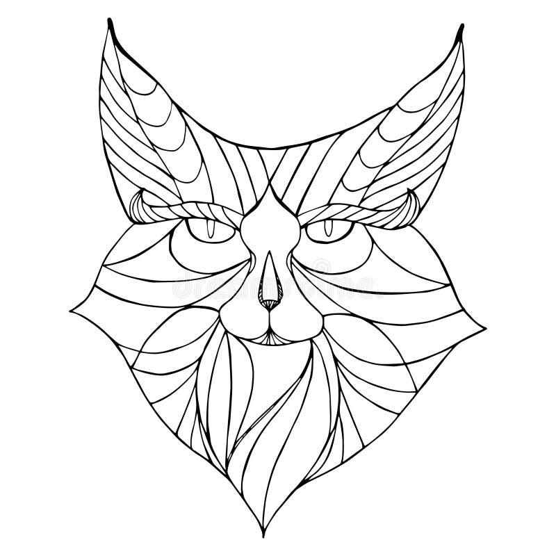 Animal étnico Gato selvagem modelado tribal ilustração royalty free