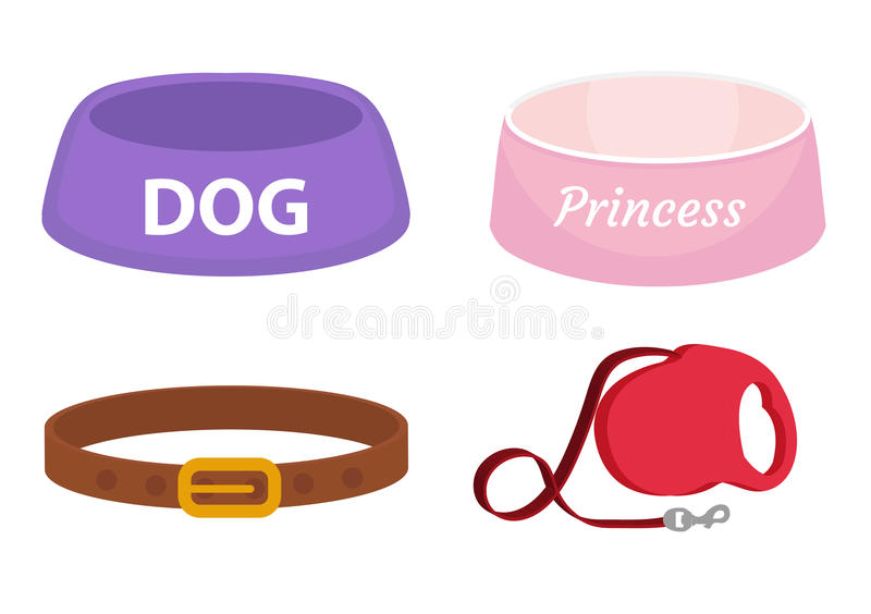 Animal accessories supplies set of icons, flat, cartoon style. Collection of items for dog care with bowl, leash, collar. Isolated on white background. Vector vector illustration