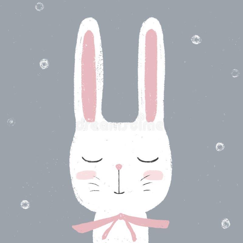 Animal adorável de Bunny Cute do coelho branco Cartão da festa do bebê, aniversário, easter Ilustração das crianças ilustração royalty free