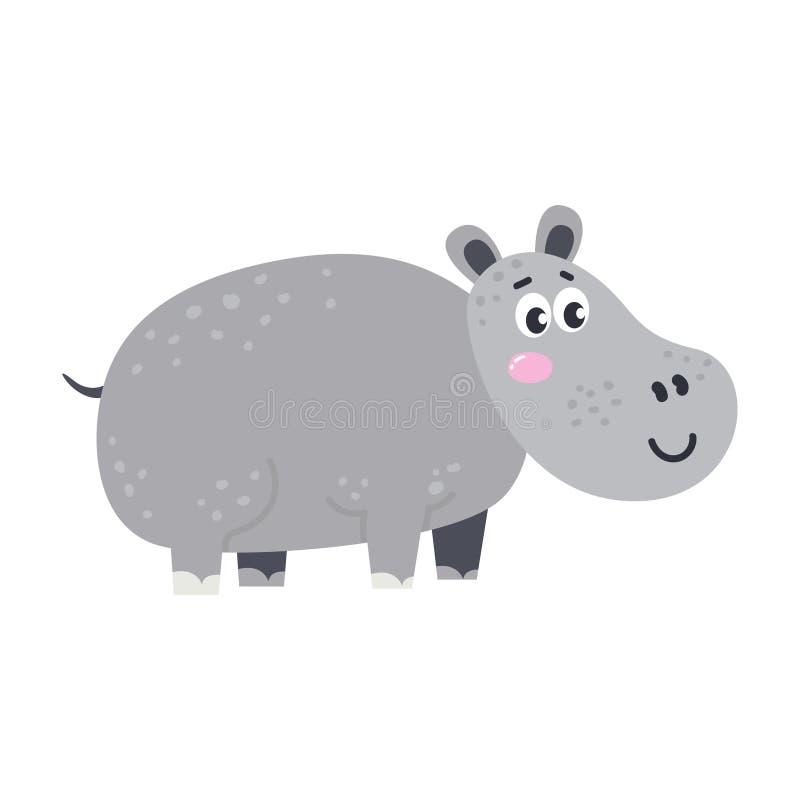 Animal africano bonito do vetor Hippopotamus ilustração royalty free