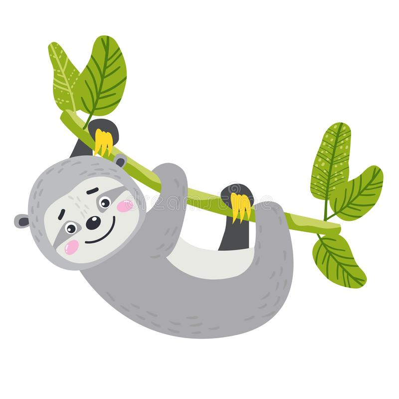Animal africano bonito do vetor sloth ilustração stock
