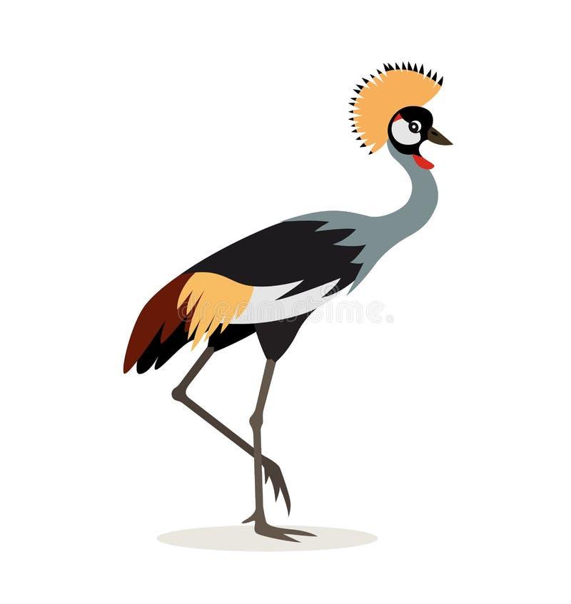 Animal africano, guindaste coroado colorido bonito isolado no fundo branco, pássaro exótico, ilustração do vetor no plano ilustração royalty free
