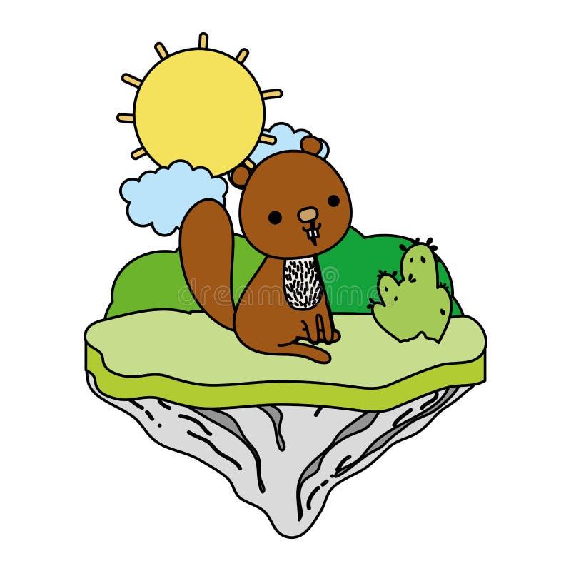 Animal agradable del castor del color en la isla del flotador ilustración del vector