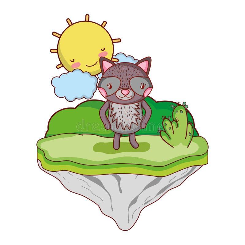 Animal agradable del mapache en la isla del flotador stock de ilustración