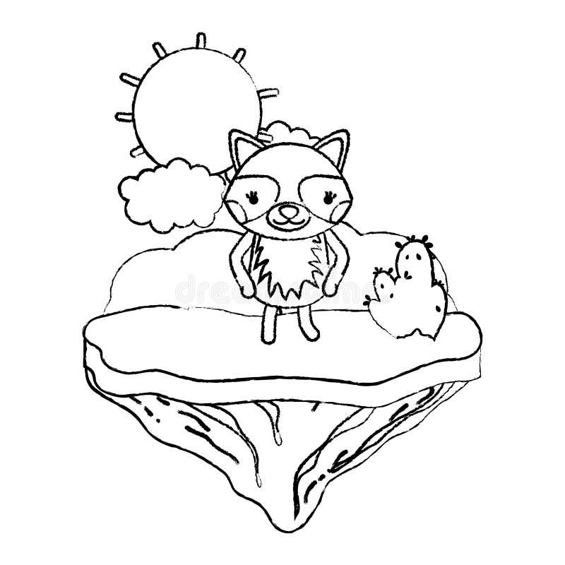 Animal agradable del mapache del Grunge en la isla del flotador libre illustration