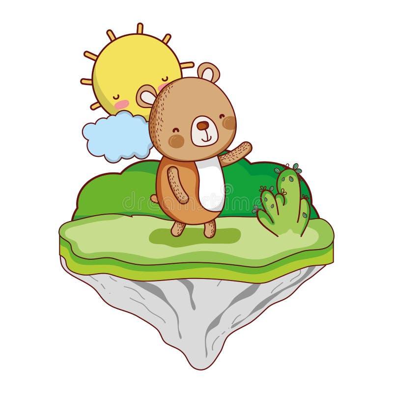 Animal agradable del oso en la isla del flotador ilustración del vector