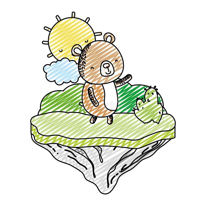 Animal agradable del oso del garabato en la isla del flotador ilustración del vector