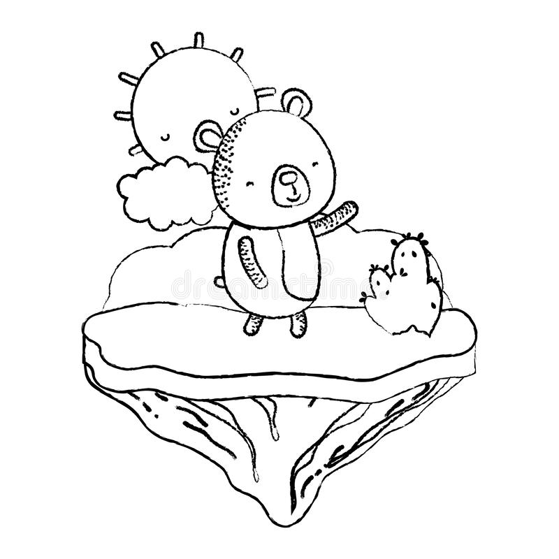 Animal agradable del oso del Grunge en la isla del flotador stock de ilustración