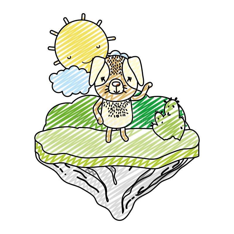 Animal agradable del perro del garabato en la isla del flotador libre illustration