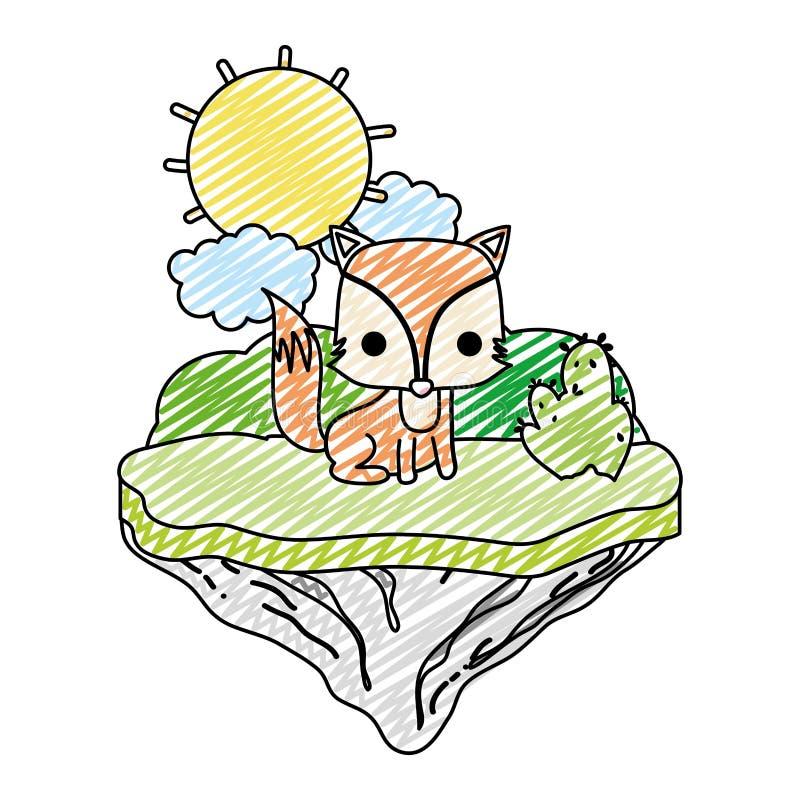 Animal agradable del zorro del garabato en la isla del flotador libre illustration