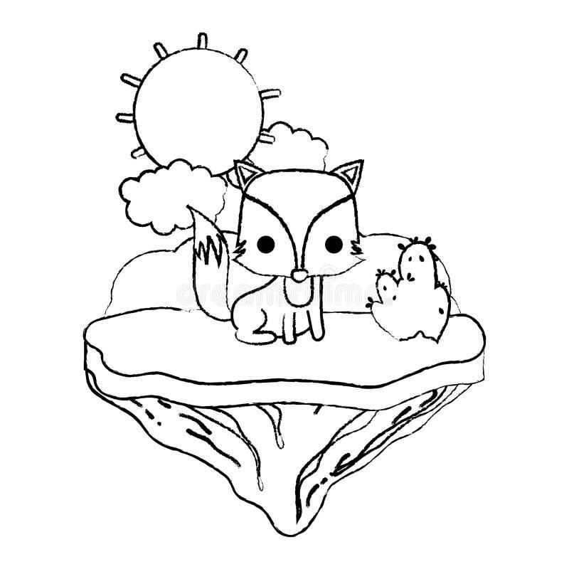 Animal agradable del zorro del Grunge en la isla del flotador ilustración del vector
