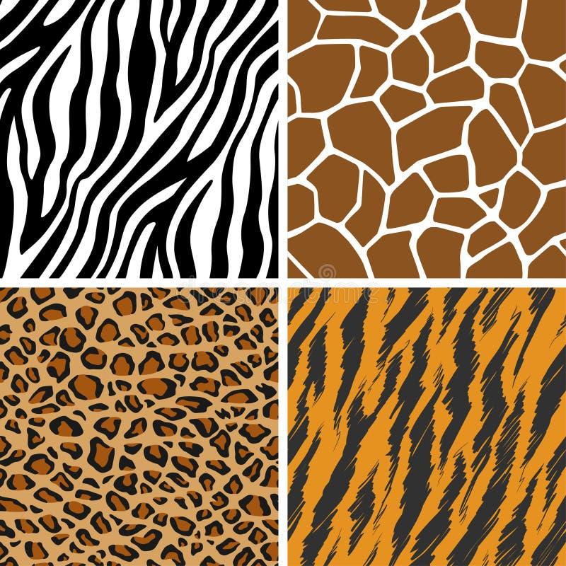 Animal ajustado - girafa, leopardo, tigre, teste padrão sem emenda da zebra ilustração do vetor
