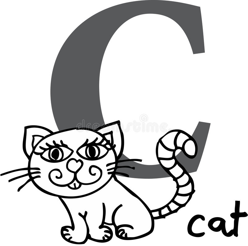 Download Animal alphabet C (cat) stock vector. Image of education - 7586492