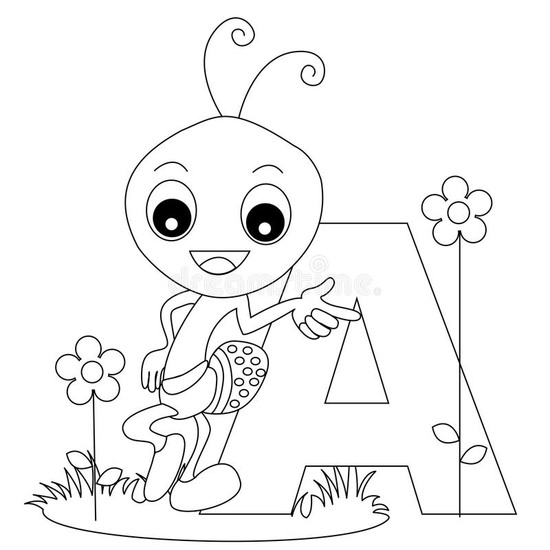 Animal Alphabet A Coloring page vector illustration