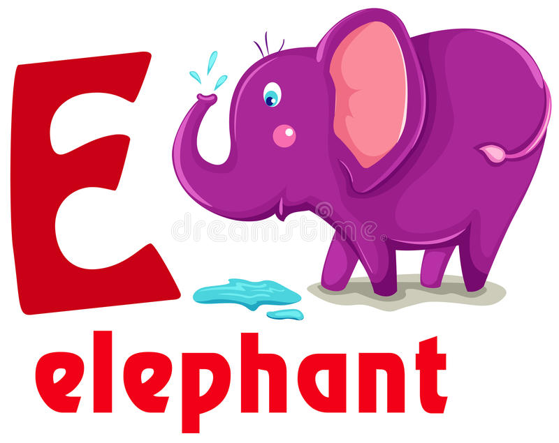 Animal alphabet E vector illustration