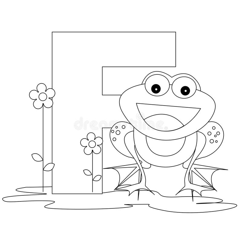 Animal Alphabet F Coloring page vector illustration