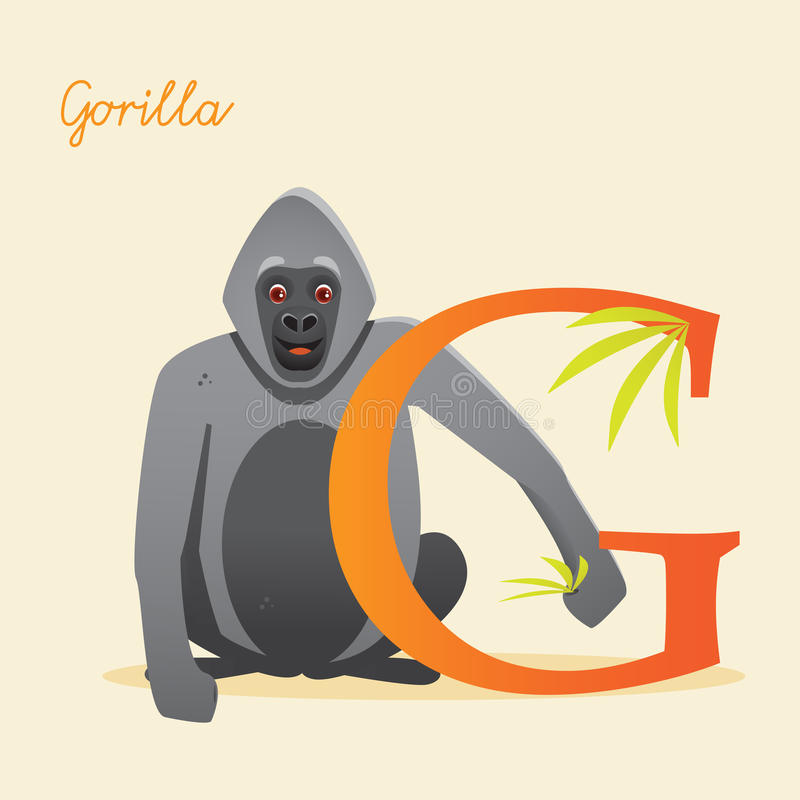 Animal alphabet with gorilla royalty free illustration