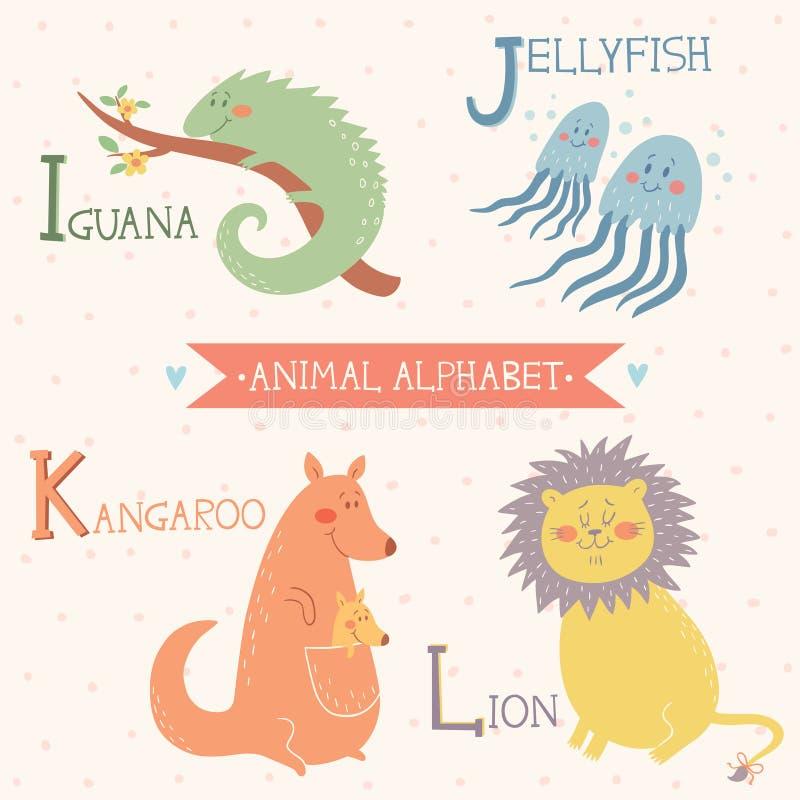 Animal Alphabet. Iguana, Jellyfish, Kangaroo, Lion. Part 3 stock image