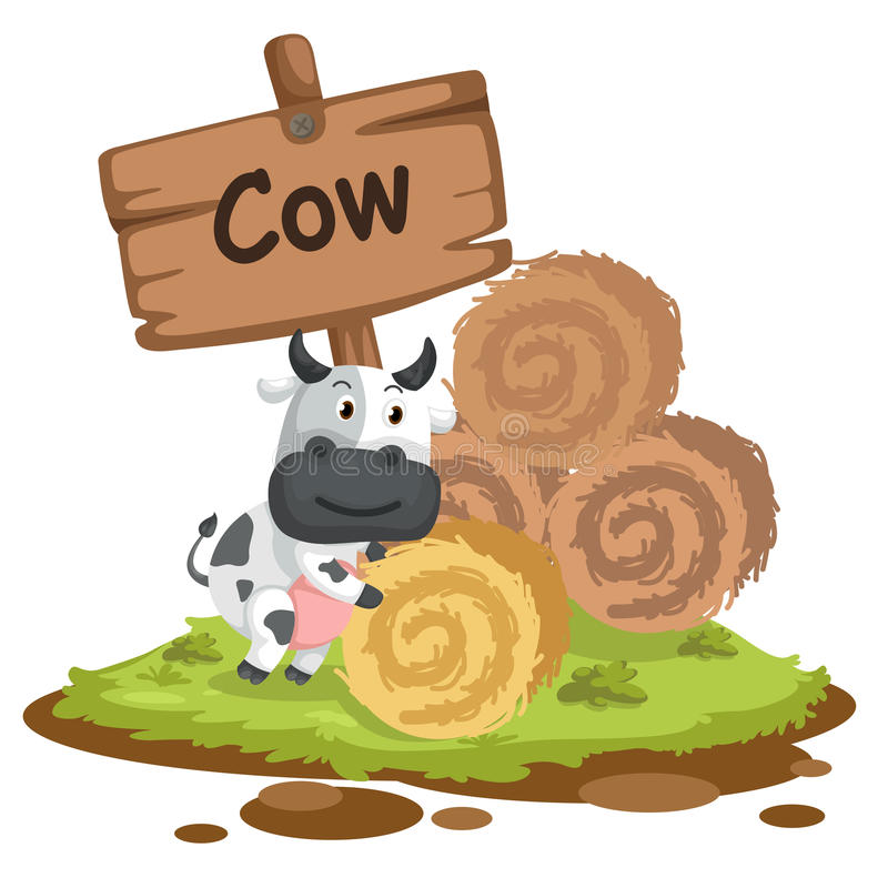 Animal alphabet letter C for cow vector illustration