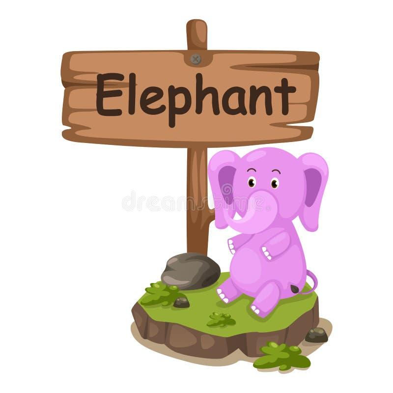Animal alphabet letter E for elephant stock illustration