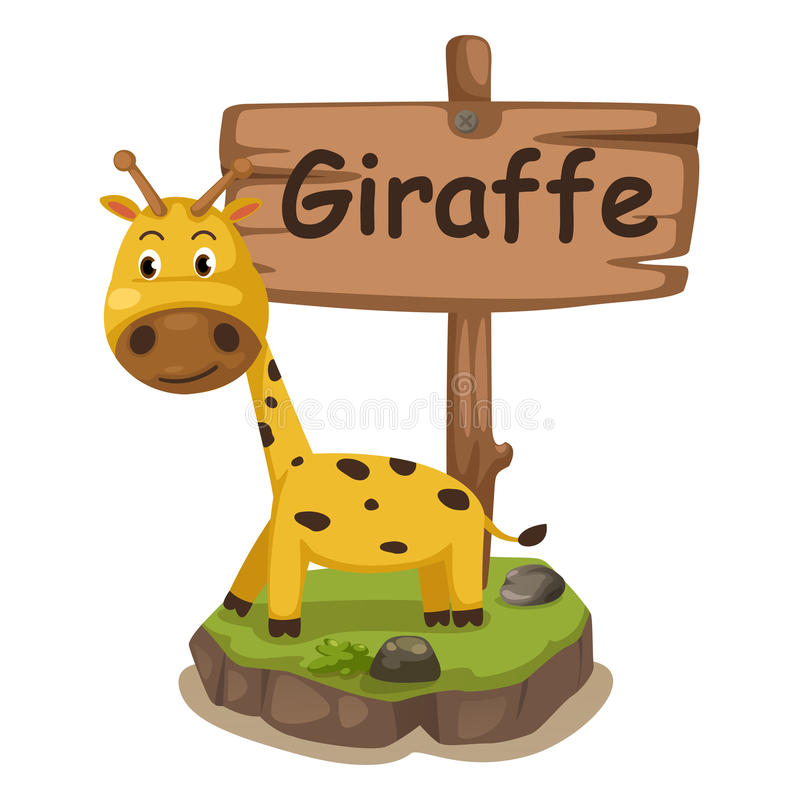 Animal alphabet letter G for giraffe stock illustration