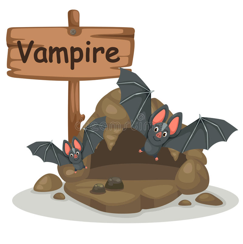 Animal alphabet letter V for vampire stock illustration