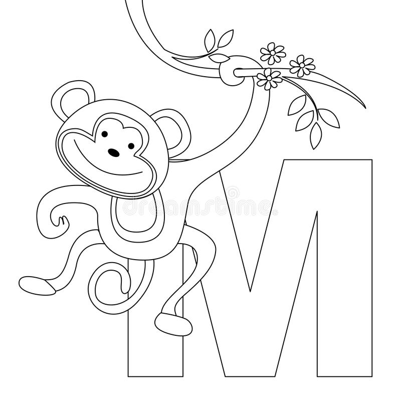 Animal Alphabet M Coloring Page Stock Vector ...