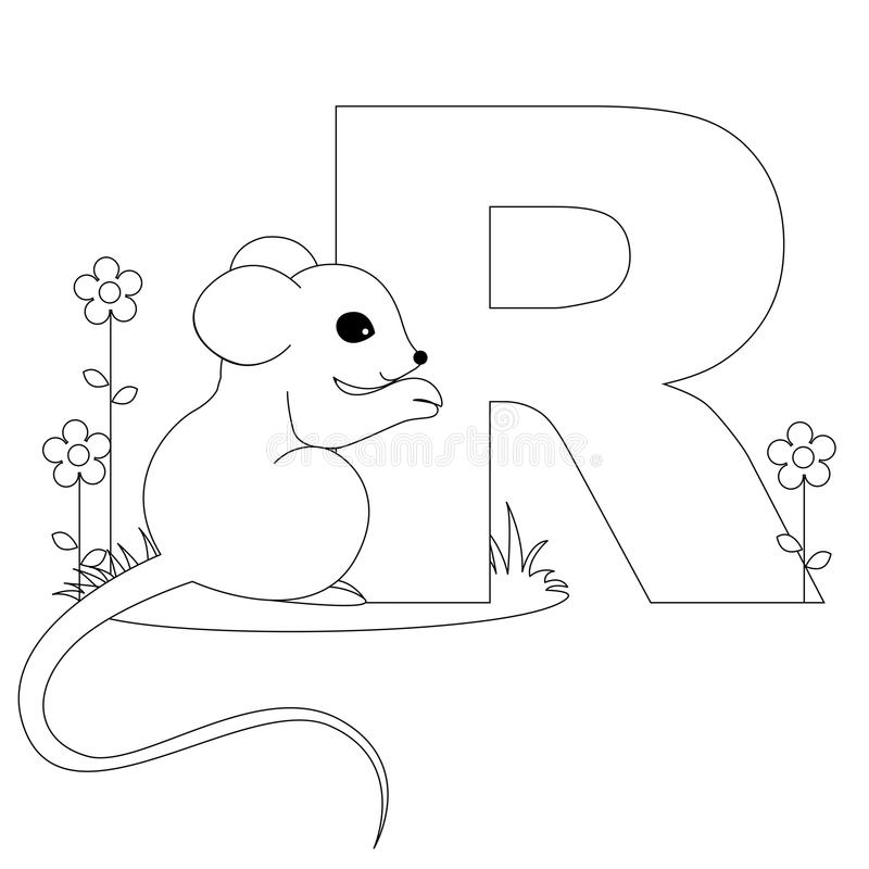 Animal Alphabet R Coloring page royalty free illustration