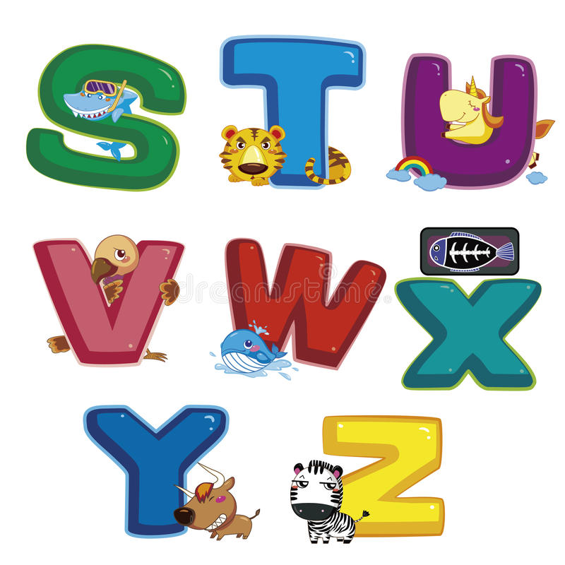 Animal alphabet S to Z royalty free illustration