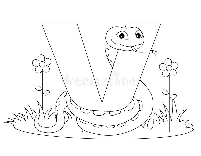 Animal Alphabet V Coloring Page Stock Vector ...