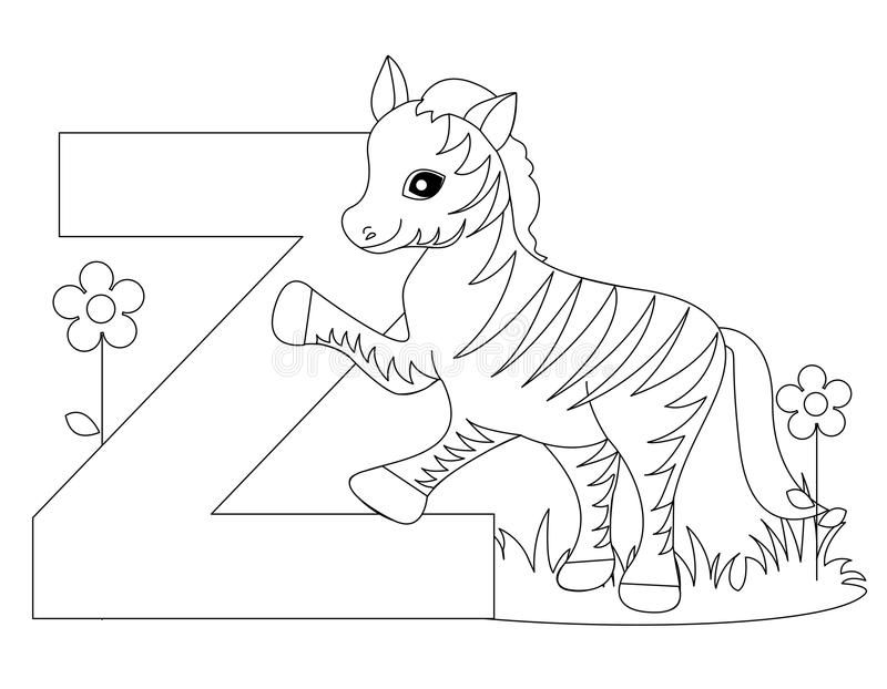 Animal Alphabet Z Coloring Page Stock Vector - Illustration of ...