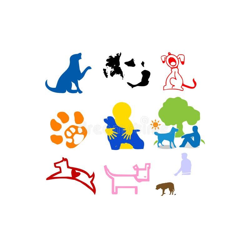Animal, animais de estimação, mamíferos, cão, ganhos, divertimento da pata no logotipo da ilustração do vetor da arte abstrato do ilustração stock
