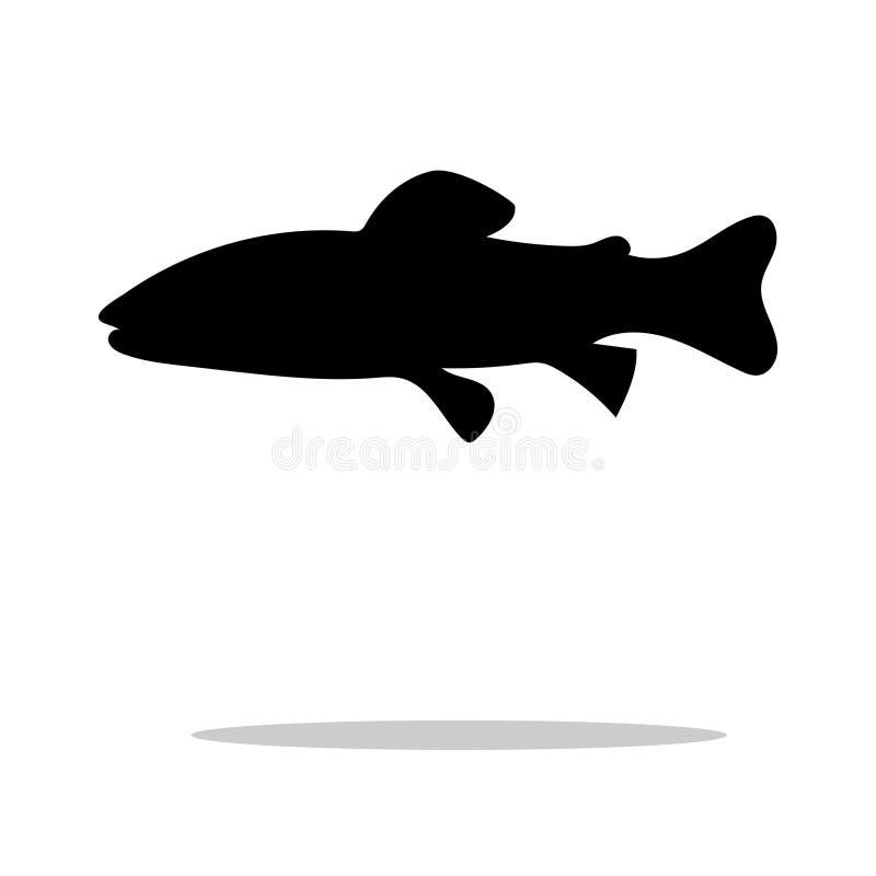 Animal aquático da silhueta do preto dos peixes da truta Salmon ilustração royalty free