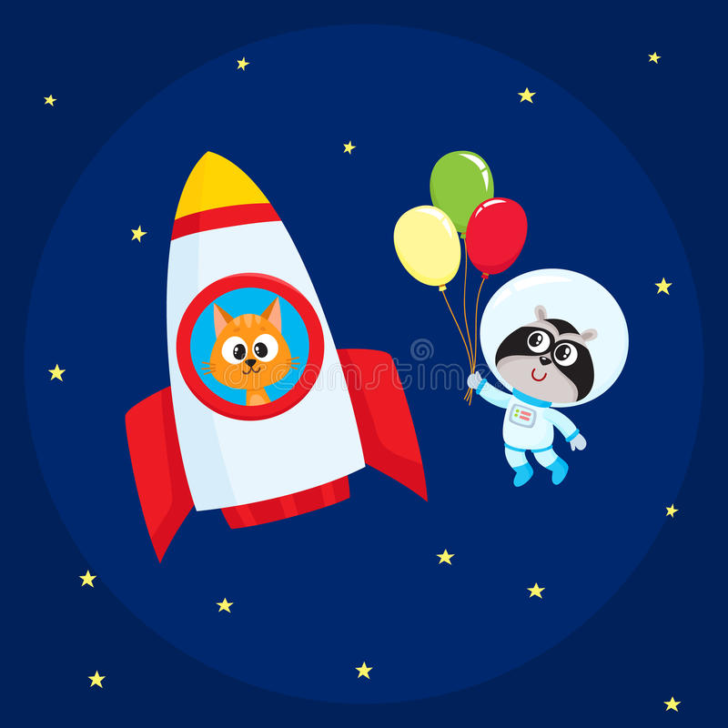 Animal astronaut, spaceman characters, cat and raccoon, in open space royalty free illustration