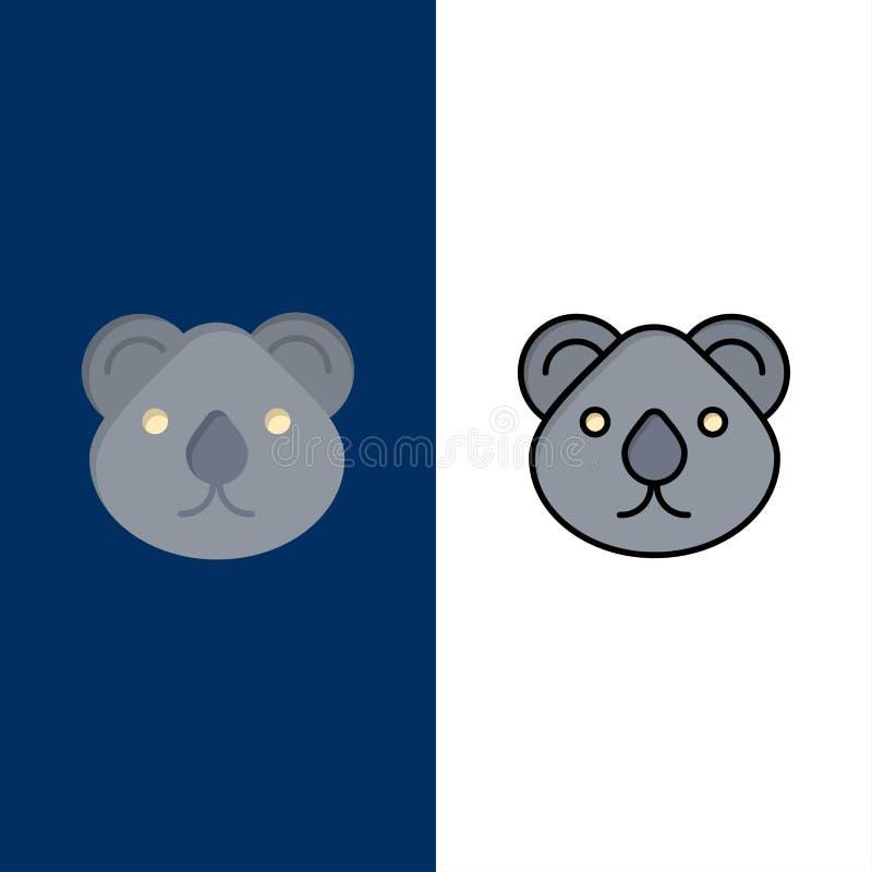 Animal, Austrália, grupos da cidade, canguru, Sydney Icons O plano e a linha ícone enchido ajustaram o fundo azul do vetor ilustração royalty free