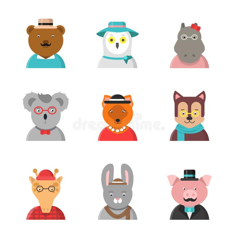 Animal avatars. Cute hipster animals fox bear dog giraffe owl in funny clothes and accessories vector flat characters vector illustration