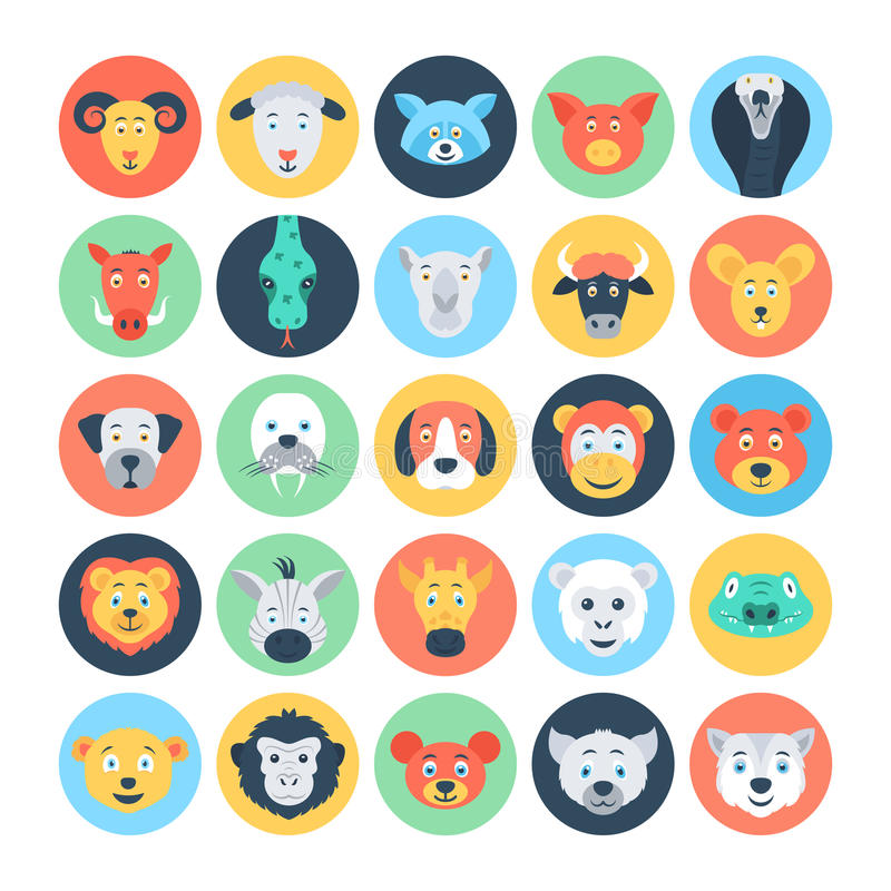 Free Animal Avatars Flat Vector Icons 3 Royalty Free Stock Images - 72970419