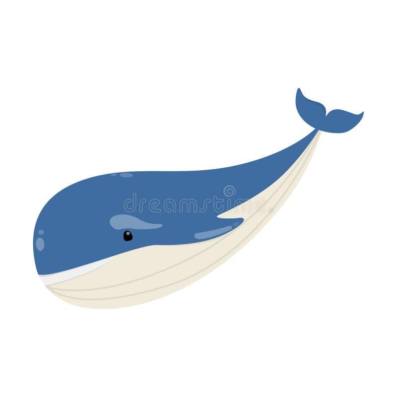 Animal azul grande de la ballena del océano o del mar ilustración del vector