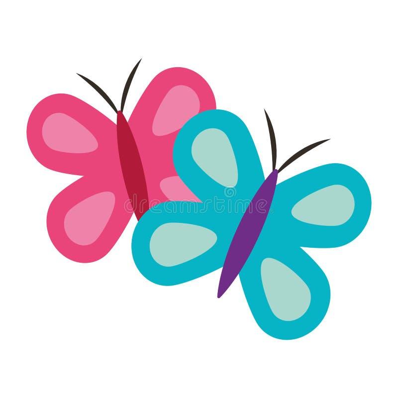 Animal azul y rosado lindo de la primavera de las mariposas libre illustration