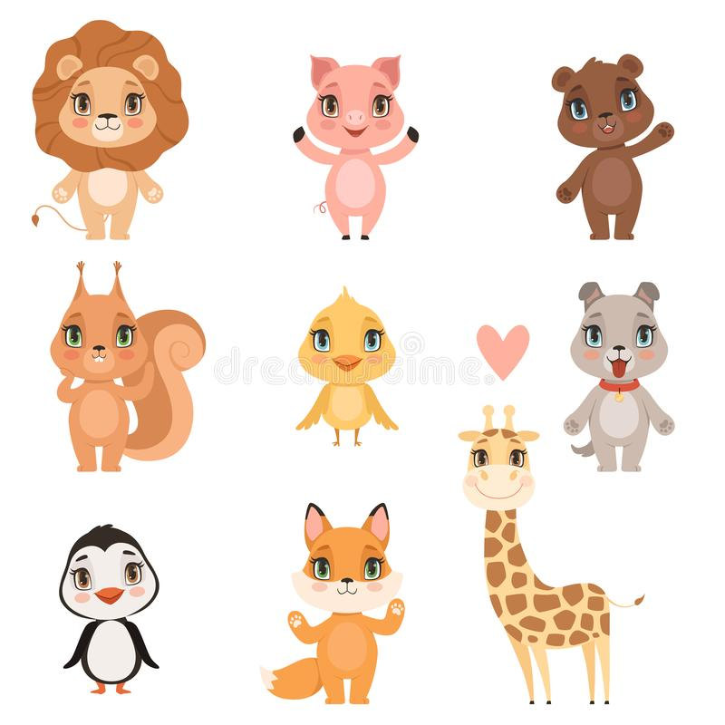 Animal baby cartoon. Domestic pig dog and wild lion bear squirrel and giraffe funny cute animals kids vector pictures stock illustration