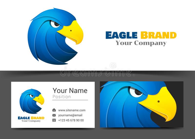 Animal Blue Eagle Corporate Logo and Business Card Sign Template vector illustration