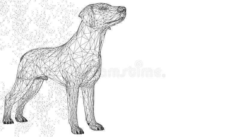Animal bonito da ilustração do vetor 3d do cão Fundo geométrico do triângulo abstrato do polígono do wirframe Baixa linha azul po ilustração stock