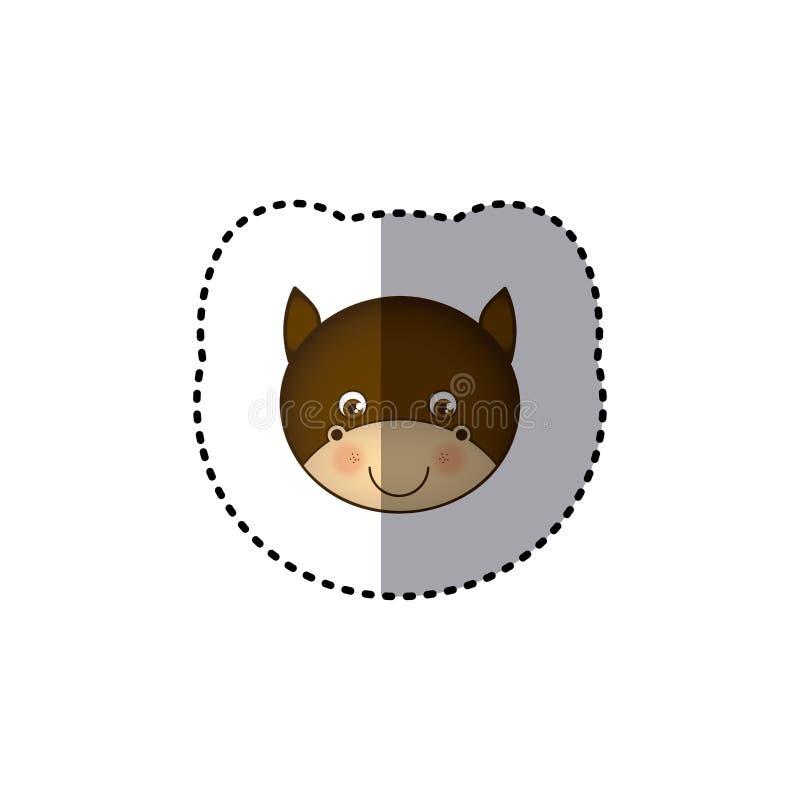animal bonito do touro da cara colorida pequena da imagem da etiqueta ilustração do vetor