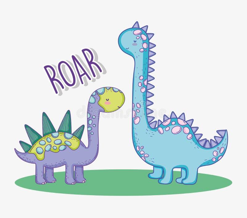 Animal bonito dos animais selvagens do stegosaurus e do diplodocus ilustração royalty free