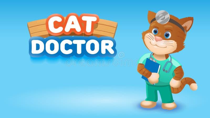 Animal bonito dos desenhos animados do doutor do gato Ilustração do clipart do vetor ilustração stock