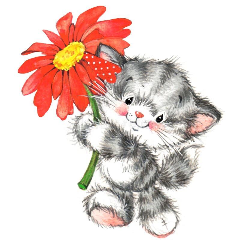 animal bonito e de vermelho do Valentim coração watercolor ilustração royalty free