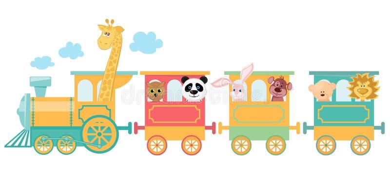 Animal bonito no trem ilustração royalty free