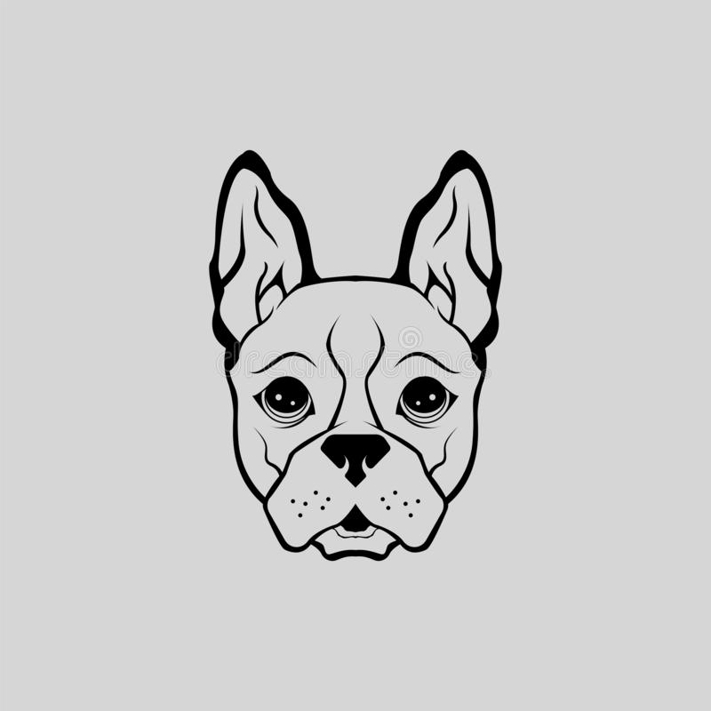 Animal Buldog Cute Puppy Head Vector Front View royalty free stock photography
