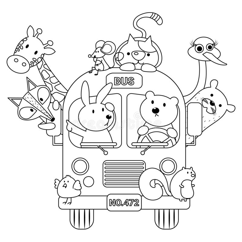 Animal Bus Colorless. Animals in bus vector illustration cartoon colorless. School bus cartoon. Cute animal in school bus. Coloring book vector illustration